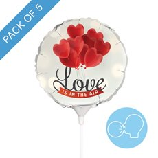 Foil Balloons - Foil Balloon 9 (22.5cmD) Pack 5 Round Love Is In The Air