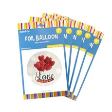 Foil Balloon 9 (22.5cmD) Pack 5 Round Love Is In The Air