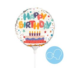 Foil Balloons - Foil Balloon 9 (22.5cmD) Air Fill Round Happy Birthday Cake
