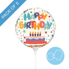 Foil Balloons - Foil Balloon 9 (22.5cmD) Pack 5 Round Happy Birthday Cake