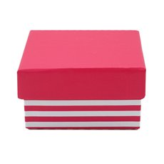Stripe Jewellery Box Hot Pink PK5 (7.5x7.5x5.5cmH)
