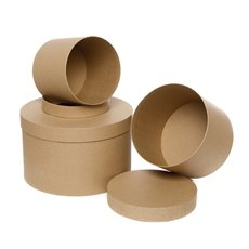 Gift Boxes Sets & Hat Boxes - Gift Box Round Brown Kraft (25cmDx15cmH) Set 3