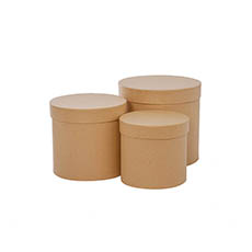 Gift Boxes Sets & Hat Boxes - Gift Box Round Brown Kraft (17cmDx16cmH) Set 3