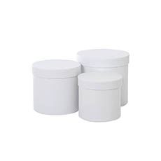 Gift Boxes Sets & Hat Boxes - Gift Box Round White (17cmDx16cmH) Set 3
