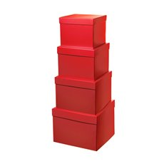 Gift Box Square Set of 4 Red (16.5x16.5x13cmH)