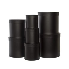 Gift Boxes Sets & Hat Boxes - Gift Flower Box Round Black (25x25cmH) Set 7