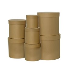 Gift Flower Box Round Kraft (25x25cmH) Set 7