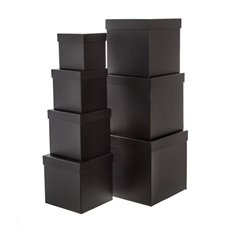 Gift Boxes Sets & Hat Boxes - Gift Flower Box Square Black (25x25cmH) Set 7