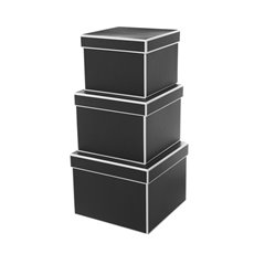 Gift Boxes Sets & Hat Boxes - Gift Flower Box Square Silhouette Black (20x15cmH) Set 3