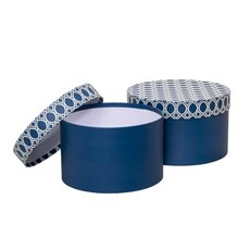 Gift Boxes Sets & Hat Boxes - Gift Box Medina Round Blue (25x15cmH) Set 2