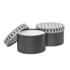 Gift Boxes Sets & Hat Boxes - Gift Box Medina Round Charcoal (25x15cmH) Set 2