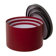 Gift Boxes Sets & Hat Boxes - Gift Box Round Saddle Stitch Red (25x15cmH) Set 3