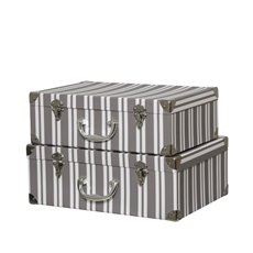 Gift Boxes Sets & Hat Boxes - Suitcase Hamper Gift Box Stripe Greywh(26Hx36Lx13WcmH) Set 2