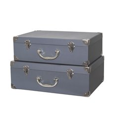 Gift Boxes Sets & Hat Boxes - Suitcase Hamper Gift Box Grey (26Wx36Lx13WcmH) Set 2
