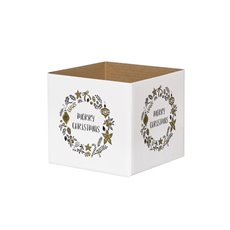 Posie Flower Box Mini Pattern - Posy Box White Mini Xmas Wreath White Gold (13x12cmH)