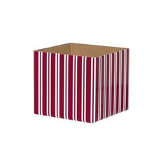 Posie Flower Box Mini Pattern - Posy Box White Mini Stripes Red White (13x12cmH)