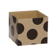 Kraft Mini Posy Box Polka Dots Black (13x12cmH)