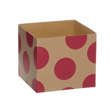 Kraft Mini Posy Box Polka Dots Hot Pink (13x12cmH)