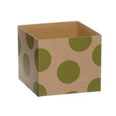 Kraft Mini Posy Box Polka Dots Lime (13x12cmH)