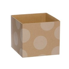 Kraft Mini Posy Box Polka Dots White (13x12cmH)