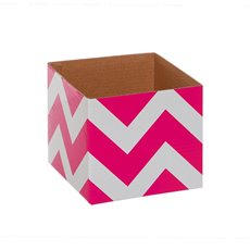 Bold Chevron Mini Posy Box Hot Pink (13x12cmH)