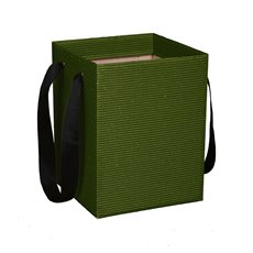 Corrugated Posy Bag With Handle Moss PK5 (21x21x27cmH)
