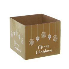 Mini Posy Box Bauble Merry Christmas Gold (13x12cmH)