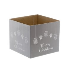 Mini Posy Box Bauble Merry Christmas Silver (13x12cmH)