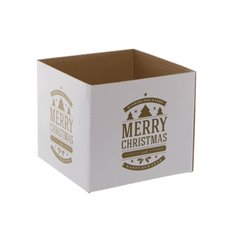 Mini Posy Box Seasonal Greeting Gold (13x12cmH)