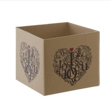 Mini Posy Box Love Letters Kraft (13x12cmH)