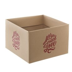 Large Posy Box All You Need Is Love Kraft (21.5x14cmH)