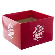 Large Posy Box All You Need Is Love Red (21.5x14cmH)