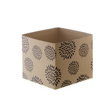 Mini Kraft Posy Box Geometric Flowers Black (13x12cmH)