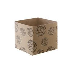 Mini Kraft Posy Box Geometric Flowers Brown (13x12cmH)