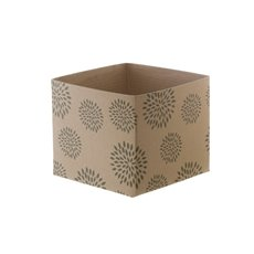 Mini Kraft Posy Box Geometric Flowers Moss (13x12cmH)