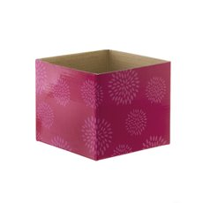Mini Posy Box Geometric Flowers Hot Pink (13x12cmH)