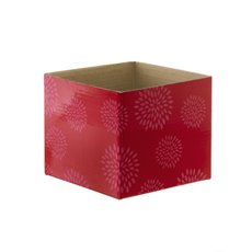 Mini Posy Box Geometric Flowers Red (13x12cmH)