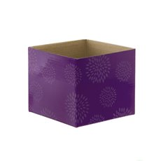 Mini Posy Box Geometric Flowers Violet (13x12cmH)