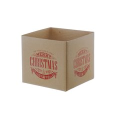 Mini Posy Box Merry Christmas Emblem (13x12cmH) Natural/Red