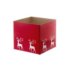 Mini Posy Box Reindeer (13x12cmH) Red