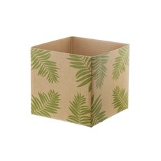 Mini Posy Box Leaf (13x12cmH) Natural/Green