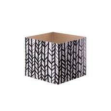 Posie Flower Box Mini Pattern - Posy Box Mini Gloss Herringbone Black Wht (13x12cmH)