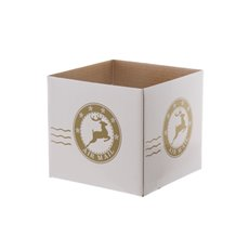 White Mini Posy Box Air Mail (13x12cmH) Gold