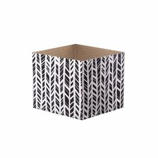 Posie Flower Box Mini Pattern - Posy Box Mini Gloss Herringbone White Blk (13x12cmH)