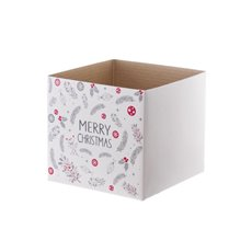 Gloss Mini Posy Box Merry Christmas (13x12cmH) White Multi