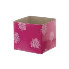 Posy Box White Mini Flower Puff (13x12cmH) Pink