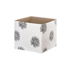 Posy Box White Mini Flower Puff (13x12cmH) Wht/Gry