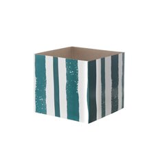 Posie Flower Box Mini Pattern - Posy Box White Mini Brush Stroke Whtite Teal (13x12cmH)