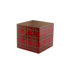 Posie Flower Box Mini Pattern - Posy Box Mini Tartan Red (13x12cmH)