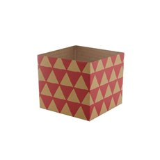 Posie Flower Box Mini Pattern - Posy Box Mini Kraft Geo Red (13x12cmH)